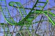 Roller Coaster Photo Framed Prints - County Fair Thrill Ride Framed Print by Joe Kozlowski