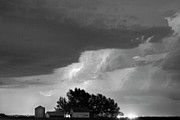 Lighning Prints - County Line Northern Colorado Lightning Storm BW Print by James Bo Insogna