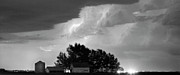 Unusual Lightning Prints - County Line Northern Colorado Lightning Storm BW Pano Print by James Bo Insogna