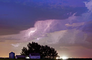 Lighning Prints - County Line Northern Colorado Lightning Storm Cropped Print by James Bo Insogna