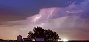 Unusual Lightning Prints - County Line Northern Colorado Lightning Storm Panorama Print by James Bo Insogna
