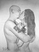 Man And Woman Drawings - Couple 2 by Ronald  Welch