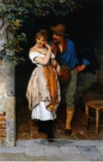 Flirting Painting Prints - Couple Courting Print by Eugen von Blaas