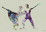 Silhouette Painting Framed Prints - Couple Dancing Ballet Framed Print by Irina  March