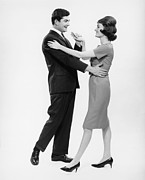 Hands To Face Posters - Couple Dancing In Studio, (b&w) Poster by George Marks