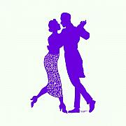 Purple Artwork Drawings Posters - Couple Dancing Poster by Karl Addison