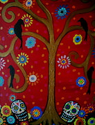 Crows Paintings - Couple Day Of The Dead by Pristine Cartera Turkus