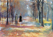 Autumn Leaf Prints - Couple in Park  Print by Stefan Kuhn