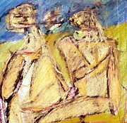 Taos Pastels Prints - Couple In The Park Print by JC Armbruster