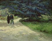 Girl Paintings - Couple in the Park by Vincent Van Gogh