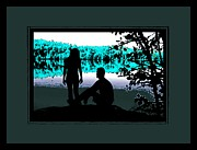 Silhouette Prints Mixed Media Prints - Couple Lakeside Silhouette Print by Tisha McGee