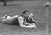 Young Adult Framed Prints - Couple Lying On Grass, (b&w) Framed Print by George Marks