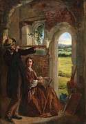 Old Door Painting Framed Prints - Couple Observing a Landscape Framed Print by English School
