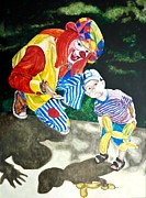 Clown Paintings - Couple of Clowns by Lance Gebhardt