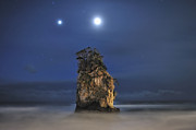 Sea Moon Full Moon Photo Prints - Couple Of Jovian And Lunar Lights Print by Dr. Akira TAKAUE / Dr. GEIST