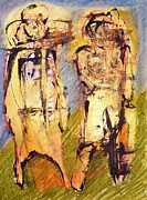 Taos Pastels - Couple On A Hill by JC Armbruster