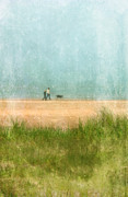 Foggy Day Posters - Couple on Beach with Dog Poster by Jill Battaglia
