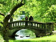 Couple On Bridge In Park Print by Susan Savad