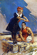 1909 Framed Prints - Couple on Raft 1909 Framed Print by Stefan Kuhn