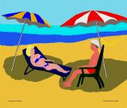 Friendly Digital Art - Couple on the Beach by Fred Jinkins
