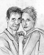 Sparkling Drawings Framed Prints - Couple Pencil Portrait Framed Print by Romy Galicia