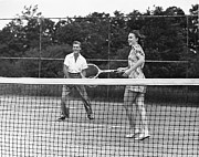 Racket Framed Prints - Couple Playing Tennis Framed Print by George Marks