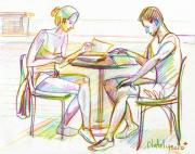 Strong Drawings Originals - Couple Reading by Natoly Art