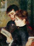 Love And Romance Framed Prints - Couple Reading Framed Print by Pierre Auguste Renoir