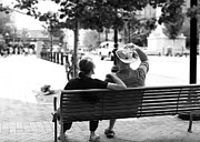 Park Scene Digital Art - Couple Resting on Bench Downtown by Gray  Artus