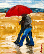 Umbrella Paintings - Couple under a Red Umbrella by Patricia Awapara