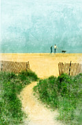 Foggy Day Posters - Couple Walking Dog on Beach Poster by Jill Battaglia