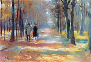 Autumn Leaf Prints - Couple walking in the Park Print by Stefan Kuhn