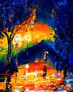 Raining Paintings - Couples At Night by Artist  Singh