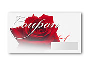 Valuable Framed Prints - Coupon Card With Red Rose Against White Background, Close Up Framed Print by Westend61