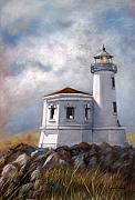 Lighthouse Painting Originals - Couquille River Lighthouse  Bandon Ore. by Lynne Parker