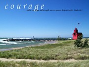 Motivational Posters Framed Prints - Courage Framed Print by Michelle Calkins