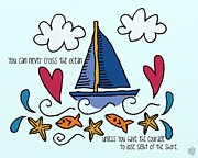 Brave Mixed Media Metal Prints - Courage To Sail Metal Print by Jennifer Heath Henry