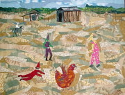 Chicken Tapestries - Textiles - Courir de Mardi Gras by Charlene White