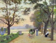 Tree-lined Prints - Cours la Reine Paris Print by Jules Ernest Renoux