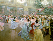Chandelier Prints - Court Ball at the Hofburg Print by Wilhelm Gause