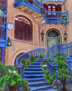 Town Square Drawings Prints - Court of Angels at Disneyland Print by Kristen Fogarty