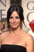 Drop Earrings Metal Prints - Courteney Cox Wearing Ofira Schwartz Metal Print by Everett