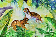 Preditor Metal Prints - Courting Tigers. Metal Print by Larry  Johnson
