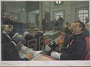 Esp Prints - Courtroom Scene Of The Espionage Trail Print by Everett