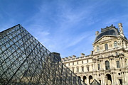 Art Museum Prints - Courtyard and the Louvre Pyramid Print by Sami Sarkis