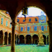 Asbjorn Lonvig Digital Art - Courtyard at Piazza del Duomo Ovest by Asbjorn Lonvig