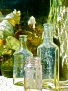 Bottles Digital Art - Courtyard Bottles by Gwyn Newcombe