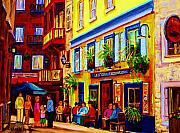 Quebec Streets Painting Framed Prints - Courtyard Cafes Framed Print by Carole Spandau