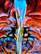 Water Garden Metal Prints - Courtyard Fountain Metal Print by Gwyn Newcombe