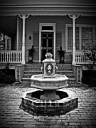 House Lion Prints - Courtyard fountain Print by Perry Webster